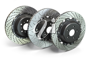 Drilled and slotted brake disks in a row. Different types of brake disks. 3d illustration