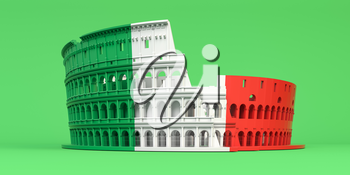 Colosseum or Coliseum in colors of italian Ffag on green background. Symbol of Rome and Italy. 3d illustration