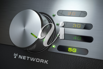5G network. Switch knob with different telecommunication standarts in mobile network. 3d illustration