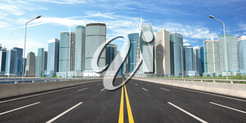Road and skyscrapers. Highway to modern city downtown, office and commcercial center. 3d illustration