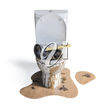 Clogged overflowing toilet bowl with rubber plumber isolated on white. 3d illustration