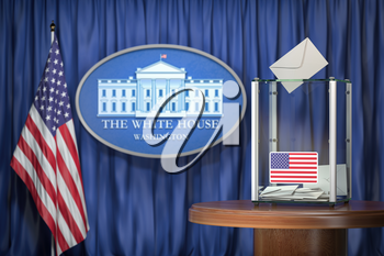 US Presidentilal Election concept. Ballot box with USA flags and sign of White House. 3d illustration
