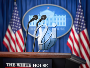 Mask on microphone in White House. Coronavirus COVID 19 of president of USA concept. 3d illustration