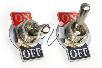 Retro toggle switch ON OFF isolated on white background. 3d illustration