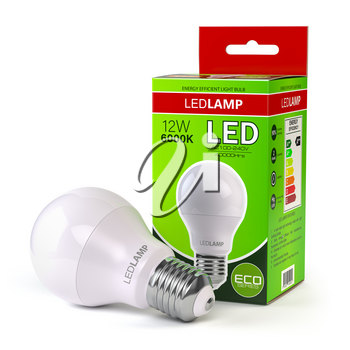 Led lamp with package box isolated on white. Energy efficient light bulb. 3d illustration