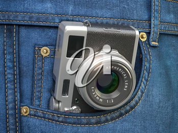 Vintage compact photo camera in jeans pocket. Blogging, travel and tourism concept. 3d illustration