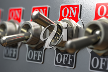 Row of retro toggle switch ON OFF on metal background. 3d illustration