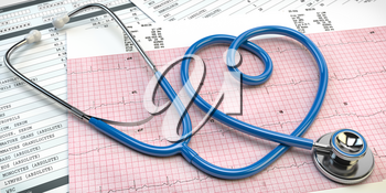 Stethoscope in form of heart on beat cardiogram report. Medical cardiology concept. 3d illustration