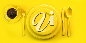 Top view of yellow plate, fork, knife, spoon and cup of coffee on yellow grunge table. 3d illustration