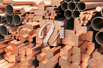 Copper tubes and different profiles in warehouse background. Different copper metal rolled products. 3d illustration