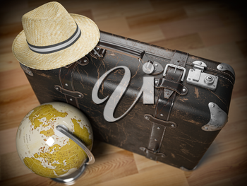 Tourism and travel concept. Globe and vintage suitcase with summer hat. 3d illustration