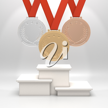 Golden, silver and bronze medals with laurels and stars on red ribbons hanging above square podium. Blank template. Victory, best product, service or employee, first place concept. Sports achievement.