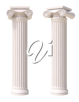Antique columns in greek style. Front and side view. Isolated on white background.