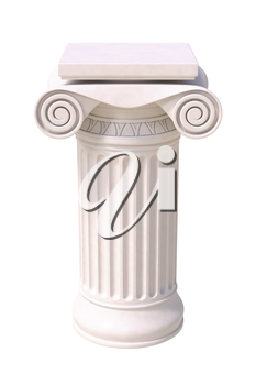Antique column in greek style. Front view. Isolated on white background.