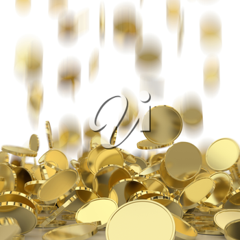 Falling golden and silver coins. Money rain. Pile of coins. Financial success, cash flow, business on the rise concept.