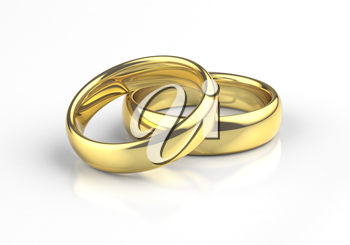 Gold wedding rings with reflection on white background.