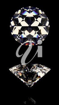 Shiny white diamond. Isolated on black background. Top and side view. High quality photo realistic image. 3D illustration.
