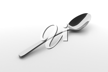 Silver spoon on a table. Fine cutlery on grey background. Single fork on a table. Silverware with shadow. 3D illustration.