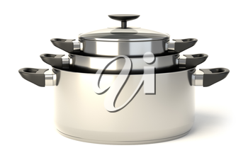 Stainless steel pots on white background. Set of three stacked cooking pots with glass see through lids. 3D illustration.
