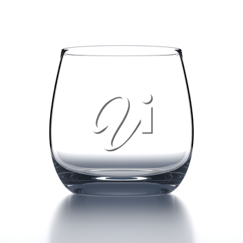 Empty Water Glass on white background. Drinking glassware. 3D illustration.