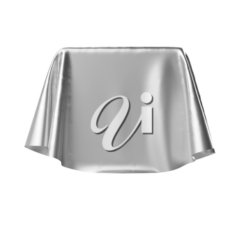 Box covered with shiny silver fabric. Isolated on white background. Surprise, award, presentation concept. Reveal the hidden object. Raise the curtain. Photo realistic 3D illustration.
