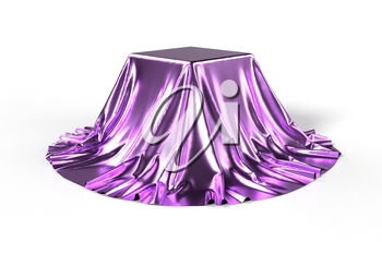 Box covered with shiny violet fabric isolated on white background. Surprise, award, prize, presentation concept. Showroom stand. Reveal hidden object. Raise the curtain. Photorealistic 3D illustration
