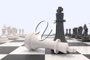 Two chess pieces on a chessboard. White king laying down and black king standing up. Victory, competition, discussion, agreement and confrontation concept. 3D illustration.