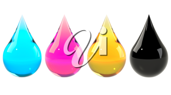 CMYK color scheme set. Cyan, magenta, yellow, black drops set isolated on white. Graphic design element for poster, flyer, print manual, printer ink packaging. 3D illustration
