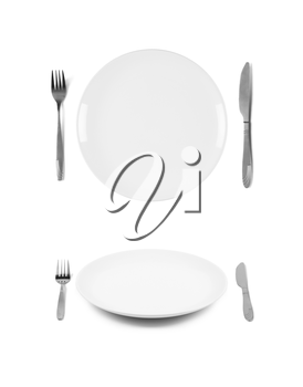 White plate with fork and knife. 2 different views. Isolated on white background. Two different view angles. Graphic design element for poster, menu, restaurant or cafe flyer.