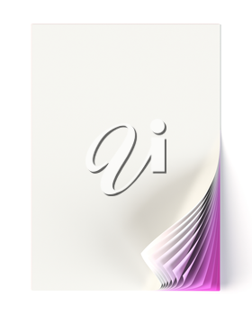 Blank document mock up with violet curled corner. Graphic design element. Business corporate identity, advertisement, web page, poster with turning corner, colors and shadow. 3D illustration