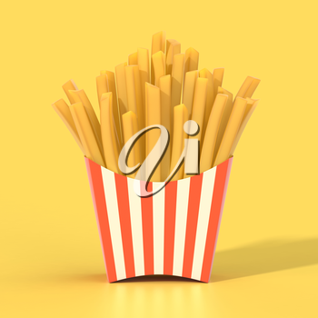 Fast food french fries in a container. Generic striped fried potato chip package on yellow background. Graphic design element for restaurant advertisement, menu, poster, flyer. 3D illustration