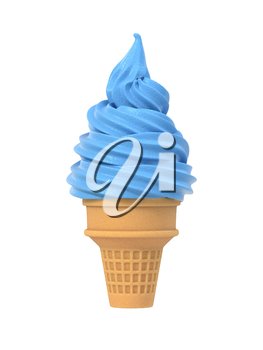 Blueberry soft ice icecream in waffle cone. Isolated on white background. Delicious 4 flavor summer dessert. Graphic design element for advertisement, menu, scrapbooking, poster, flyer. 3D illustration