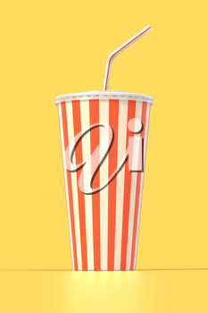 Fast food cola drink cup, drinking straw. Generic striped beverage package on yellow background with shadow. Graphic design element for restaurant advertisement, menu, poster, flyer. 3D illustration