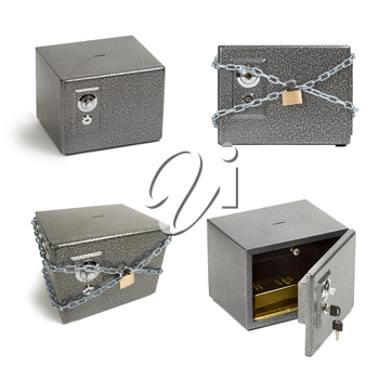 Safe boxes set isolated on white background. Closed safe, secured with chains and lock, open safe with golden bar inside. Financieal security, bank deposit, pension, savings concept.