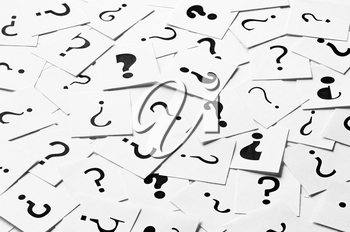 Pile of question mark signs scattered around as a square background. Decision, enquiry or faq concept.