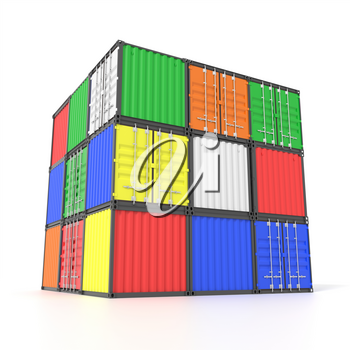 Colorful ship cargo containers stacked on top of each other in a cube form. Marine olgistics, harbor warehouse, customs, transport shipping concept. 3D illustration