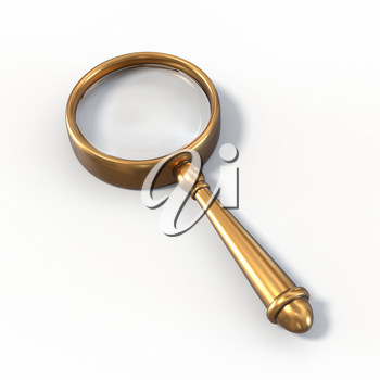 Photo realistic vintage magnifying glass. Brass material, vintage look.