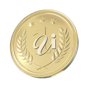 Gold medal with laurels and stars. Round blank coin with ornaments. Victory, best product, service or employee, first place concept. Achievement in sports. Isolated on white background.