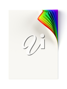 White document mock up with rainbow colored curled corner. Graphic design element. Business corporate identity, advertisement, web page, poster with turning corner, colors and shadow. 3D illustration