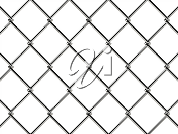 Chain link fence pattern. Industrial style wallpaper. Realistic geometric texture. Steel wire wall isolated on white. 3D illustration.