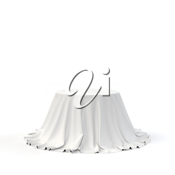 Round box covered with white fabric isolated on white background. Surprise, award, prize, presentation concept. Showroom stand. Reveal a hidden object, raise the curtain. 3D realistic illustration