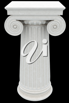 Antique column isolated on black background