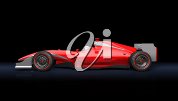 Generic red race car on the black background
