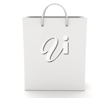 Empty Shopping Bag on the white. 3D illustration