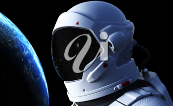 Spaceman in outer space. 3D illustration. Elements of this image furnished by NASA
