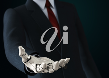 Robot in suit giving his empty hand. 3D illustration