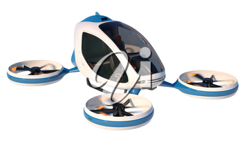Electric Passenger Drone on white background. This is a 3D model and doesn't exist in real life. 3D illustration