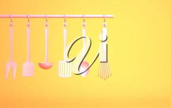 Pink Kitchenware on yellow background. 3D illustration