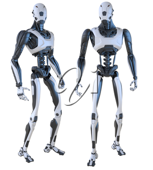 Robot android isolated on white. Clipping path included. 3D illustration