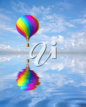 3d colorful Hot Air Balloon in the blue sky and reflection in water